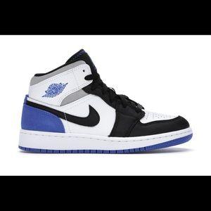 White black & blue Nike Air Jordan's
